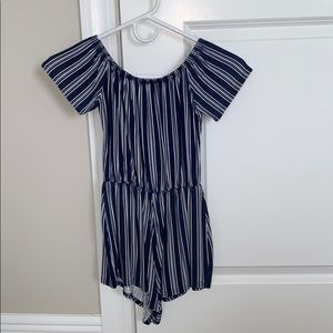 NAVY BLUE AND WHITE OFF THE SHOULDERS ROMPER